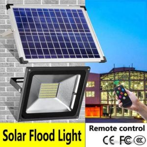 "LED SOLAR FLOODLIGHT 25W Solar Floodlight. (Solar panel ""with 4 Meters Cable"", Floodlight and a Remote control) Can be switched on manually or automatically with day/night sensor."